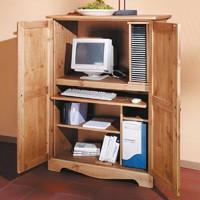 Ideal für kleine Wohnungen: Computerschrank als Heimbüro