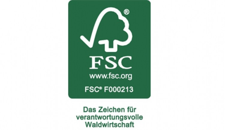 Das FSC Siegel weist aus Tropenholz aus nachhaltigem Anbau hin.