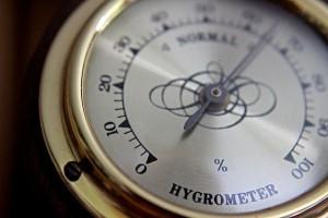 Analoges Hygrometer zur Messung der relativen Luftfeuchtigkeit in Wohnräumen.
